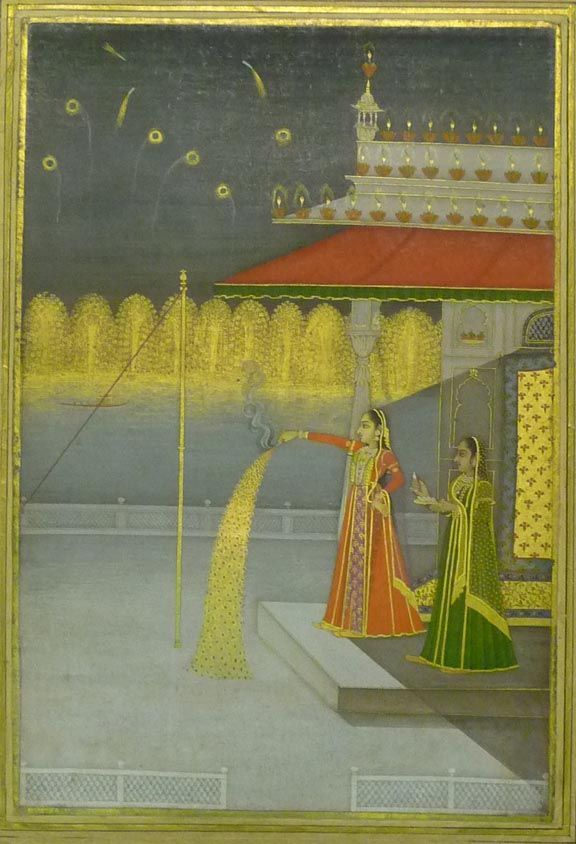 Fireworks. The night of Shab-i-barāt. Style of Govardhan, Mughal (Delhi) c.1735-40.   Opaque watercolour and gold on paper.