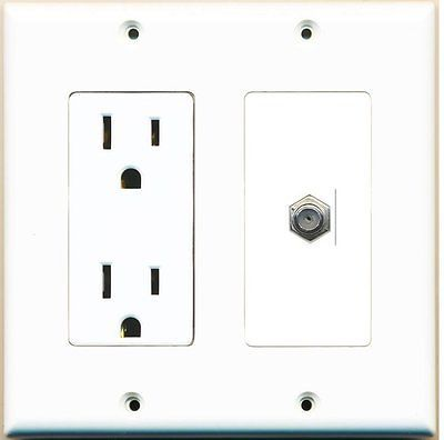 Switch Plates And Outlet Covers 43412 Riteav 15 Amp Power Outlet And 1 Port Coax Cable Tv F Type Decora Type Plates On Wall Electrical Outlets Power Outlet