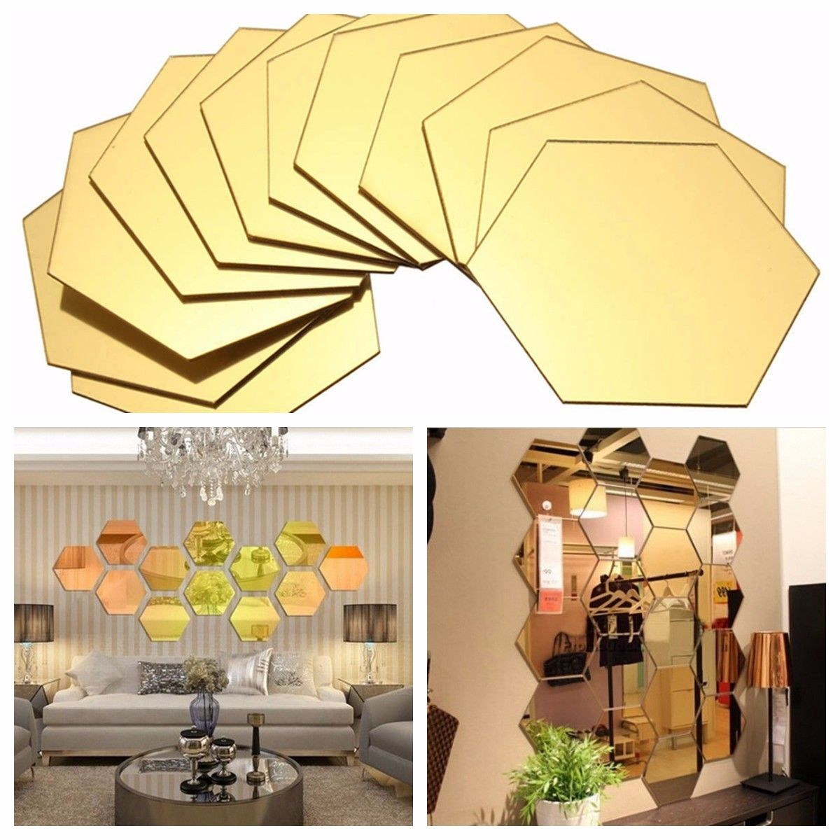 12x 3D Mirror Hexagon Removable Vinyl Wall Sticker Decal Home ...