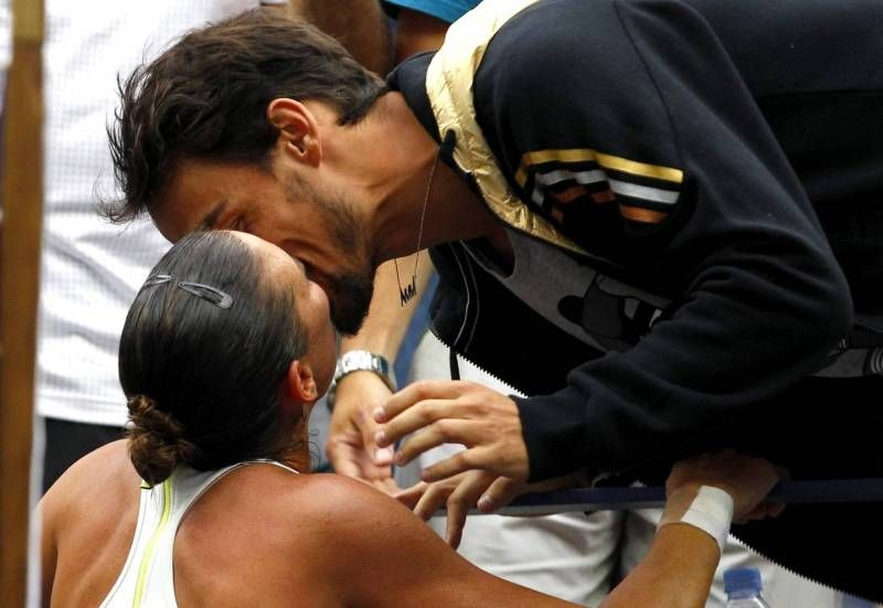 Flavia #Pennetta dopo la vittoria agli #UsOpen bacia Fabio #Fognini
