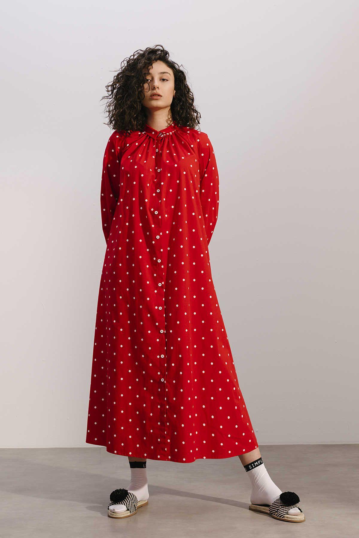 Kuaybe Gider Koton Kirmizi Puantiyeli Elbise 2094 Puantiyeli Elbise Elbise Giyim