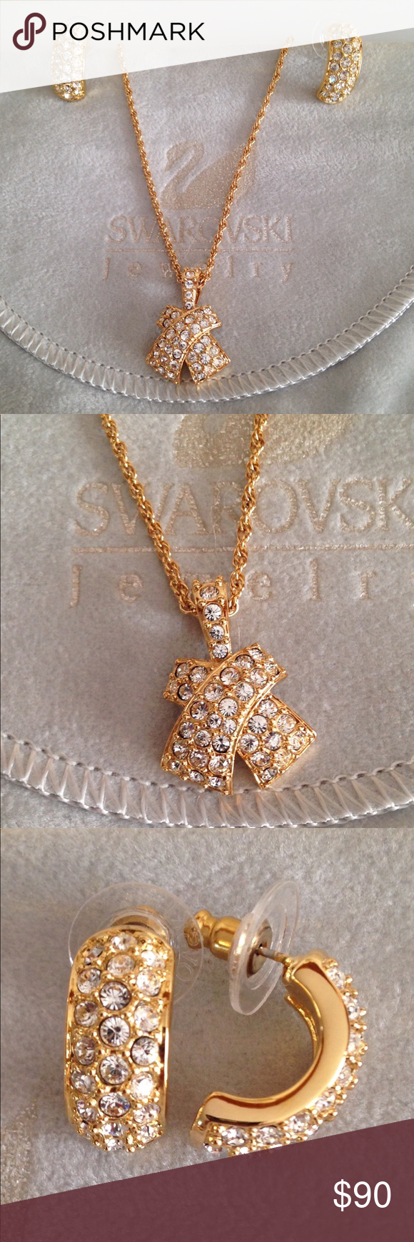Hpxgold swarovski necklace u earrings set in my posh
