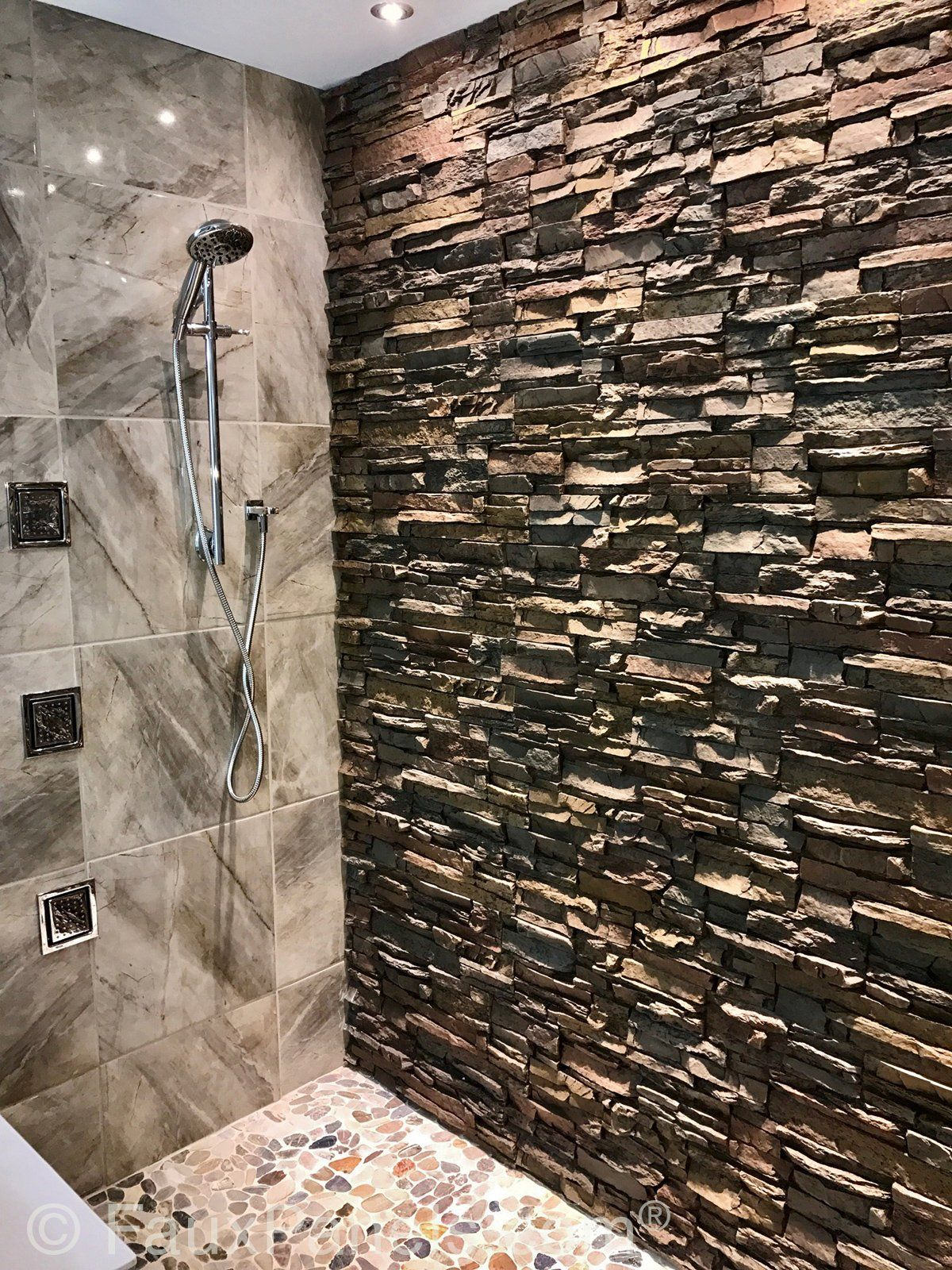 Waterproof Bathroom Wall Panels Design W Stone Brick Style In 2020 Stone Shower Walls Stone Shower Bathroom Wall Panels