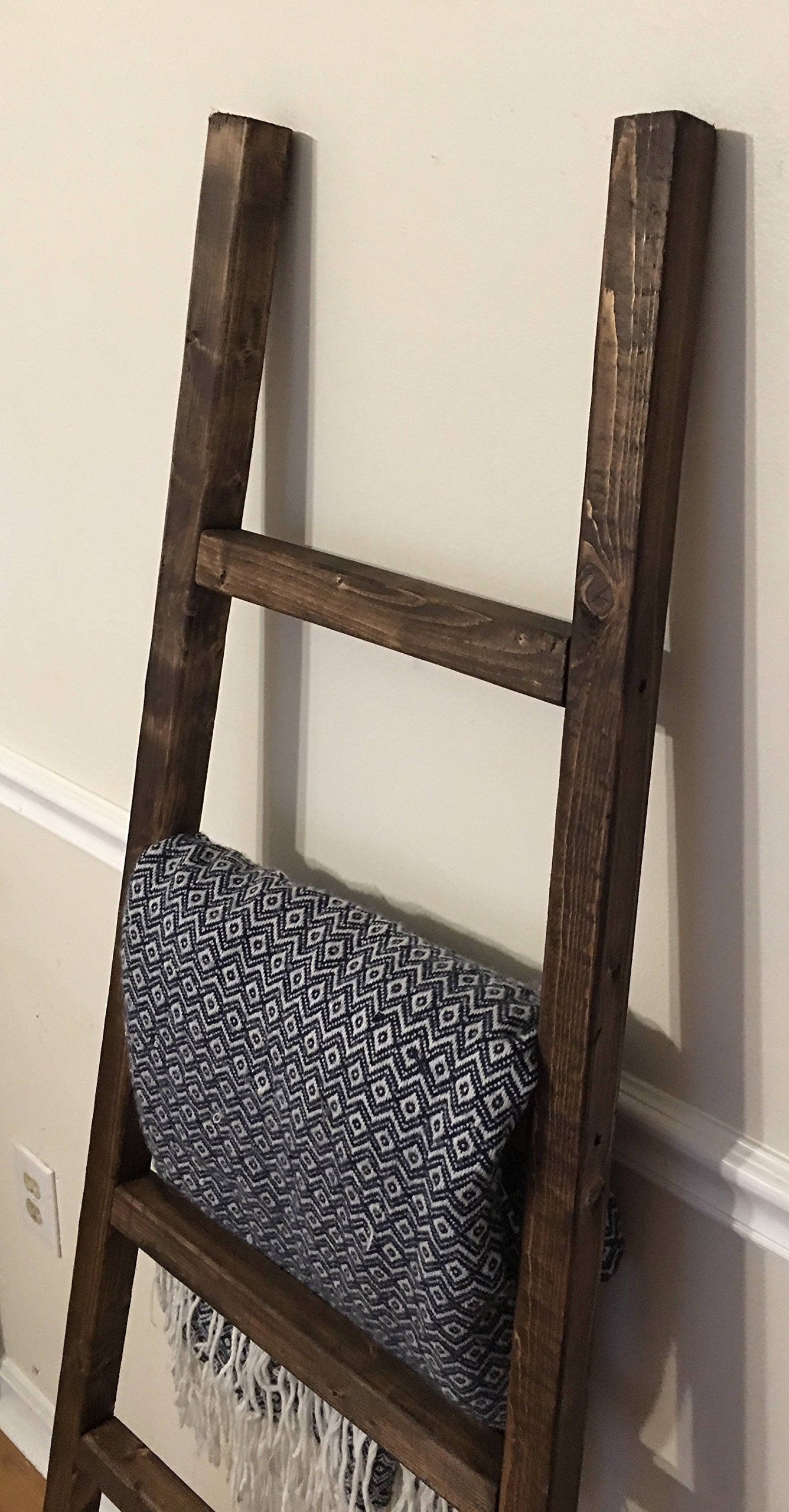 Rustic Ladder 60 Blanket Ladder Quilt Rack Leaning Ladder Towel Rack Pot Rack Reclaimed Wood Handmade Wood Blanket Ladder Blanket Ladder Quilt Rack