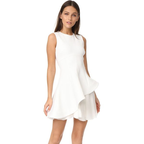 Cushnie Et Ochs Structured Fit & Flare Dress (5,810 ILS) ❤ liked on Polyvore featuring dresses, white, fit and flare mini dress, short dresses, layered dress, mini dress and structured fit and flare dress