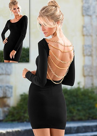 e7f4aacca99 Black (BK) Chain Back Dress  44 It s all about transitions this season -  unexpected