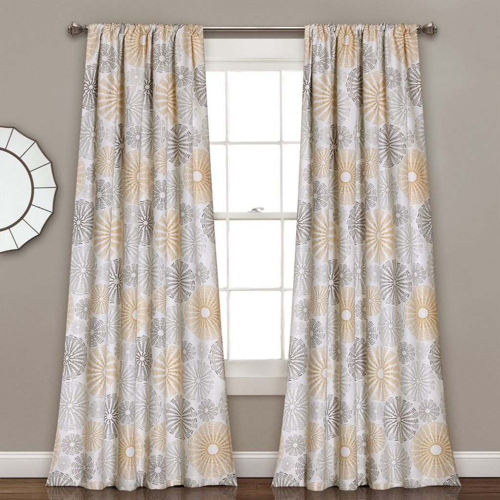 Multi Circles Room Darkening Window Curtain Yellow Gray Set 52x84