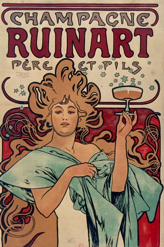 Alphonse mucha champagne ruinart vintage poster stretched