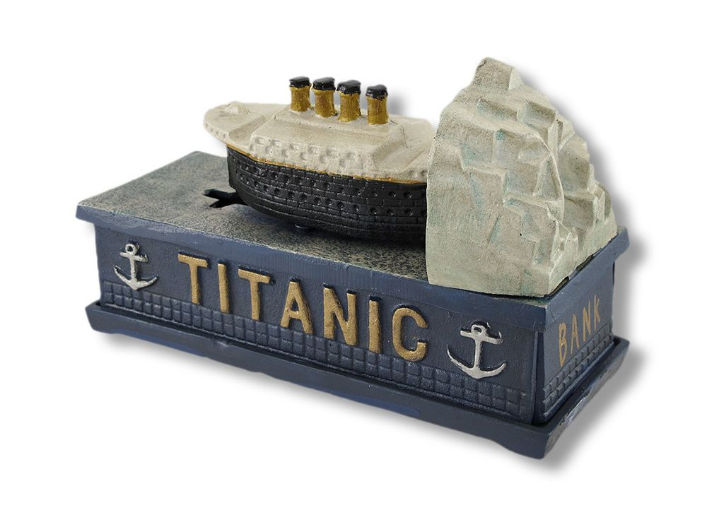 Mechanical Bank Cast Iron Titanic Mechanical Coin Bank