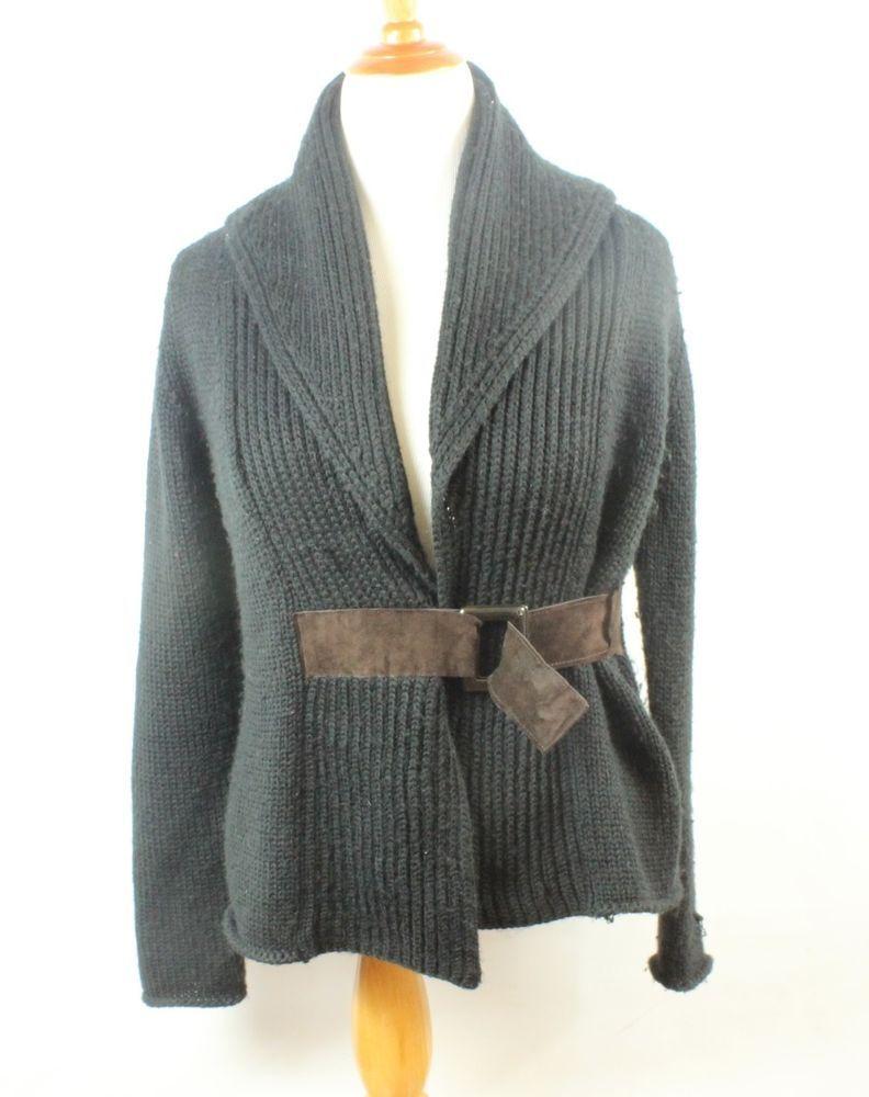 Soft Surroundings Sz M Medium Black Acrylic Cable Knit Cardigan ...