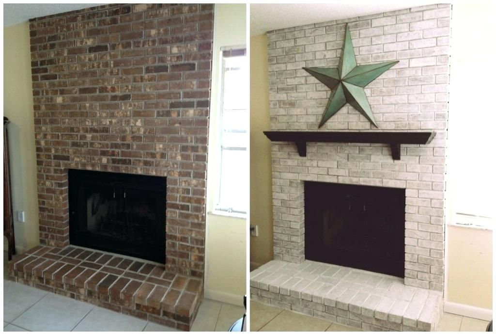 Terrific Update Brick Fireplace Before After Painting Brick Fireplace Home Interior And Landscaping Sapresignezvosmurscom