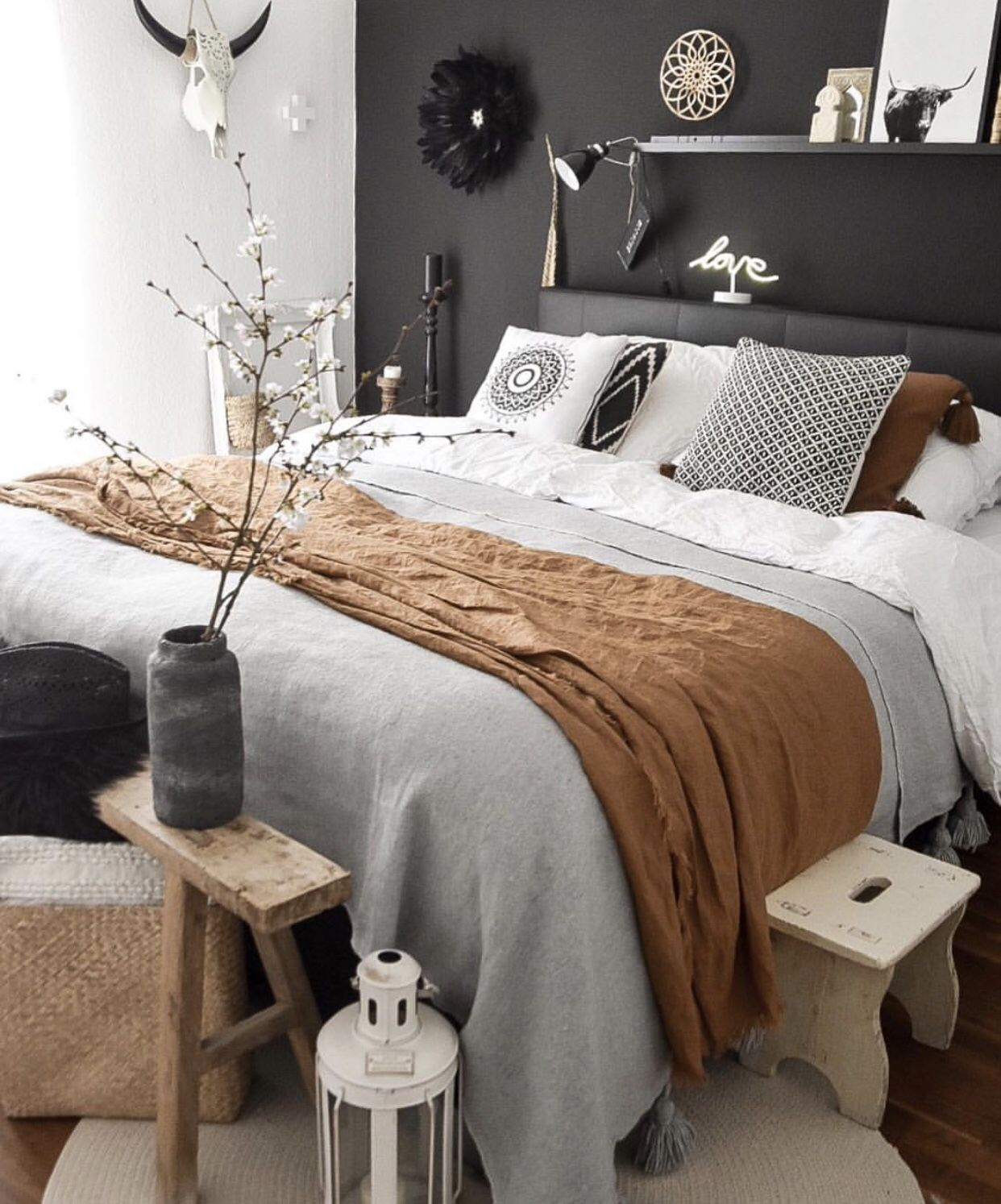 black , white and brown bedroom  Brown bedroom decor, White and