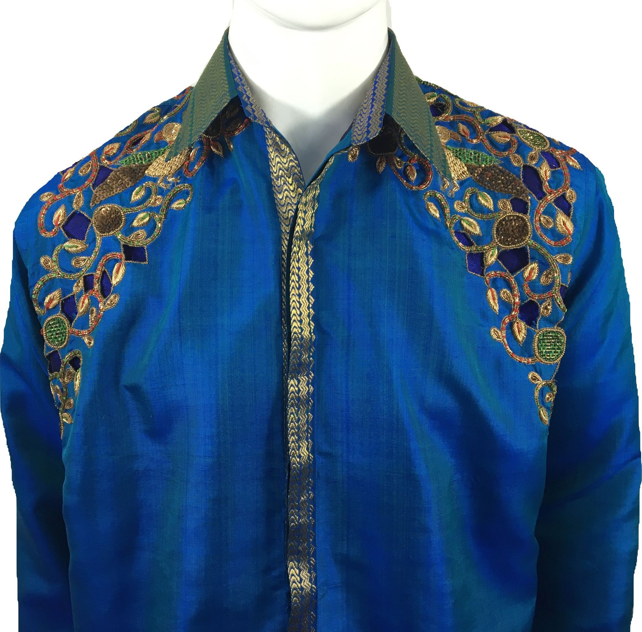 1db89682b7414b Qarth Royal Blue Silk Shirt  mensfashion