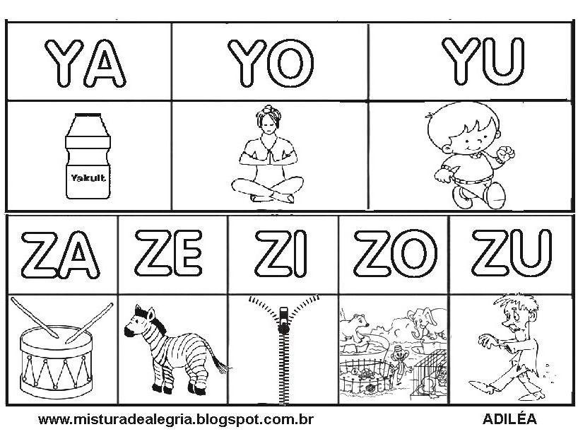 Silabario Alfabetizacao Letras Y Z Desenhos Imprimir Colorir Jpg