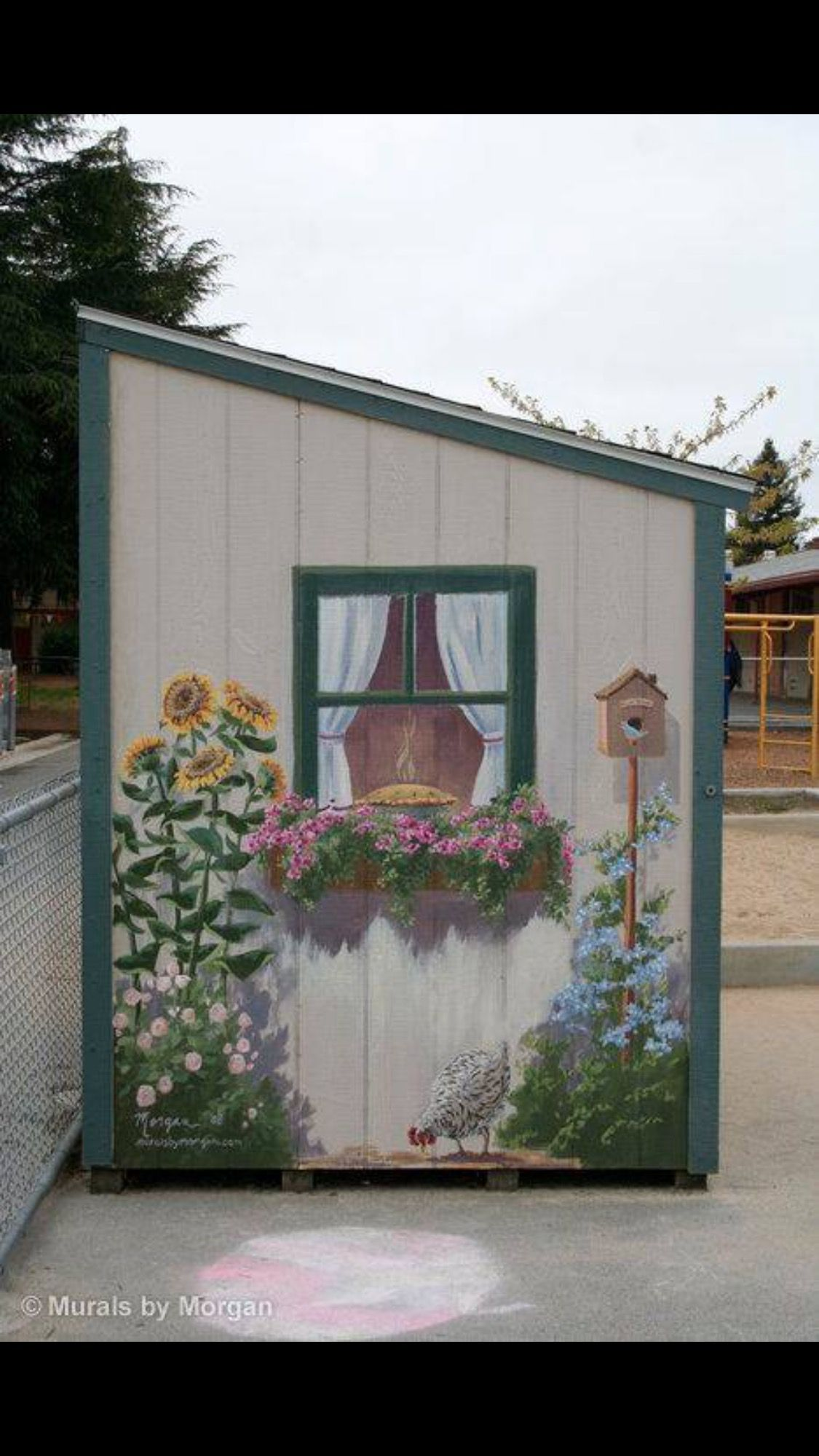 Pin By Evelyn Rossana Muino Villagran On Altered Furniture Garden Mural Painted Shed Fence Art