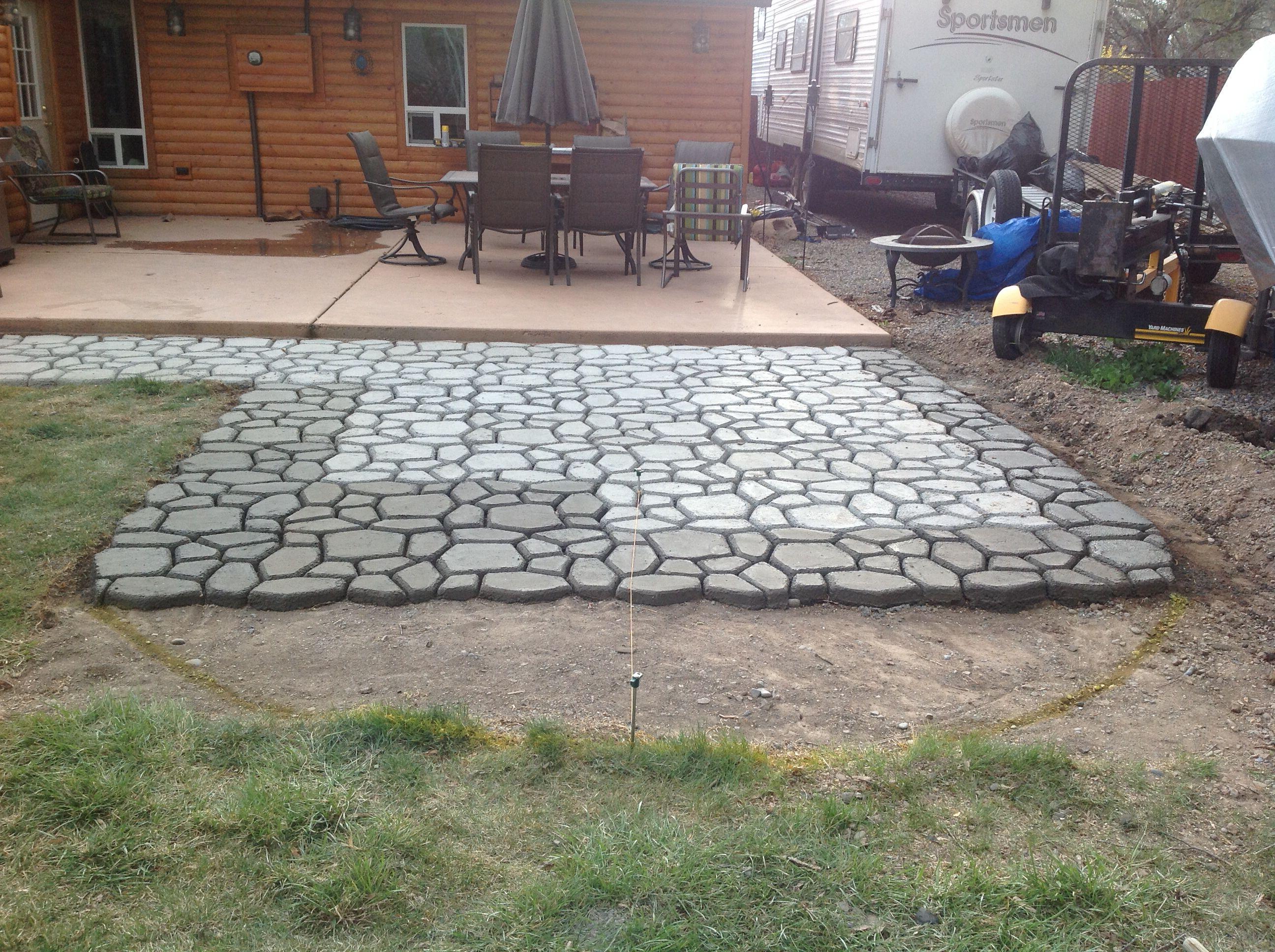 Concrete paver molding in progress. DIY Molded Concrete
