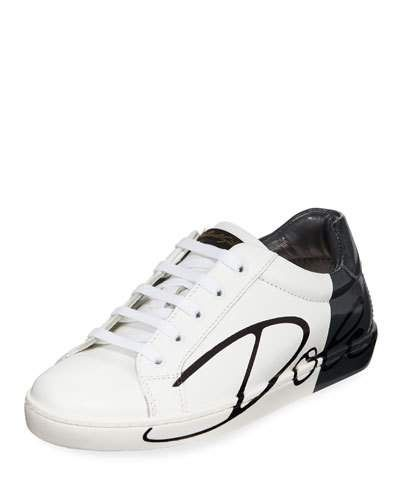 03d50787b Dolce & Gabbana Two-Tone Leather Logo Sneakers, Toddler | Products ...