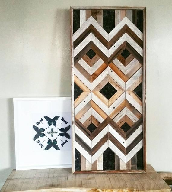 Geometric Reclaimed wood wall art with stone accents / large wood wall art / wood wall art / reclaimed wood wall art / barn wood wall art #reclaimedwoodwallart