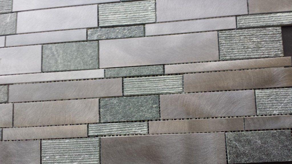 Brushed Aluminum & Textured Black Quartz Mosaic Tile