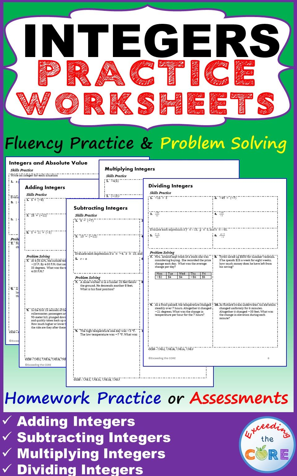 small resolution of INTEGERS Homework Practice Worksheets - Skills Practice with Word Problems  ~ 5 INTEGER practice worksheets (50 qu…   Integers word problems