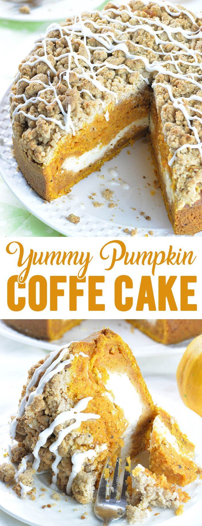 Pumpkin Coffee Cake This is the fall recipe you\u2019ve all been waiting for- Pumpkin Coffee Cake! A big slice of spiced pumpkin cake with cream cheese filling in the center and crunchy brown sugar-cinnamon crumbs on top, drizzled with sweet glaze, paired with a cup of coffee is perfect way to start a fall day. #cakesandcheesecakes