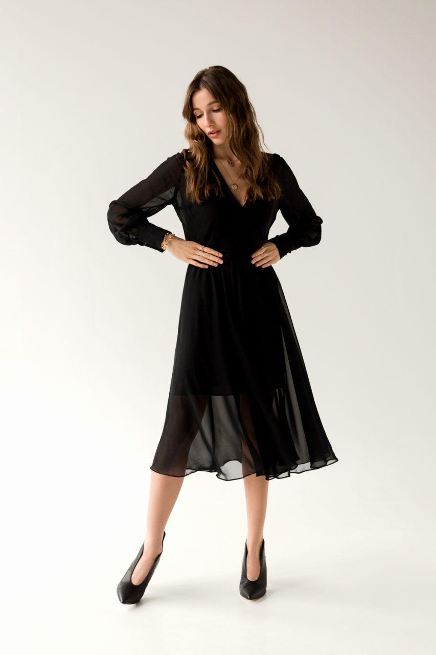 Chiffon Dress With Cuffed Sleeve Nuances Black Chiffon Dress Dresses Chiffon Dress [ 1280 x 853 Pixel ]