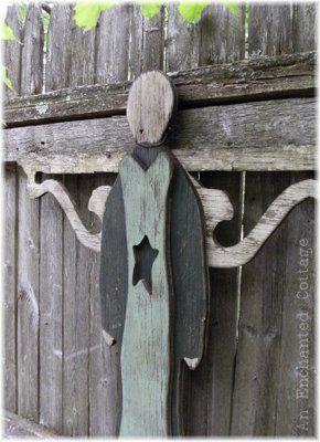 garden wooden angels   Primitive Wood Angels   This little garden angel has been around since ...