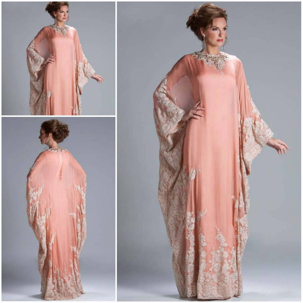 8443834895c Custom Made Hot Sale Floor Length Chiffon Coral Lace Appliqued Arabic Dubai  ABAYA Kaftan Evening Dresses with Long Sleeve JQ3309 US  185.99