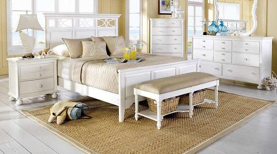 cindy crawford home seaside white 7 pc king panel bedroom