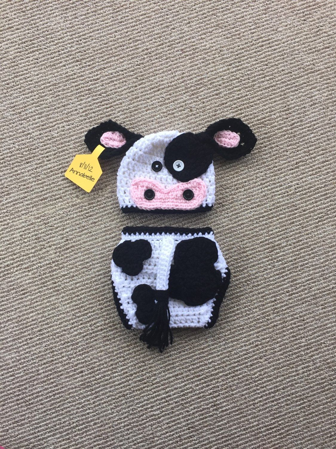 Black and White Crochet Cow Hat and Diaper Cover - Farm Animals - Photo  Prop - Available in Any Size or Color Combo by DanitasBoutique on Etsy fce8ad05aef