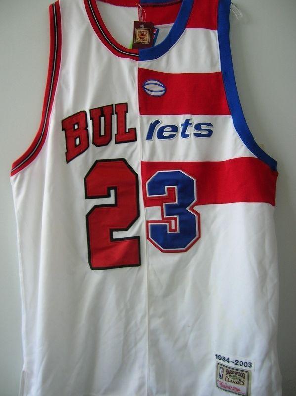 buy popular 9dba0 fa728 Michael Jordan Jersey- Split Bulls/ Bullets Hardwood Classic ...