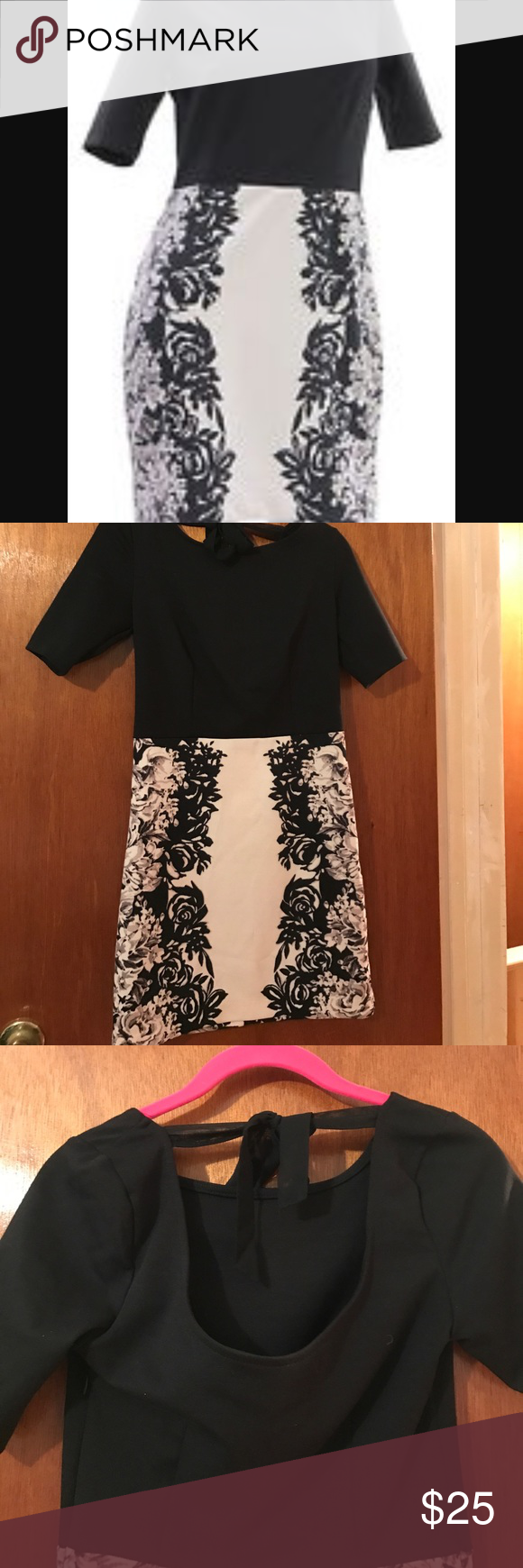Lauren Conrad black and white fitted dress Worn once, like new! LC Lauren Conrad Dresses