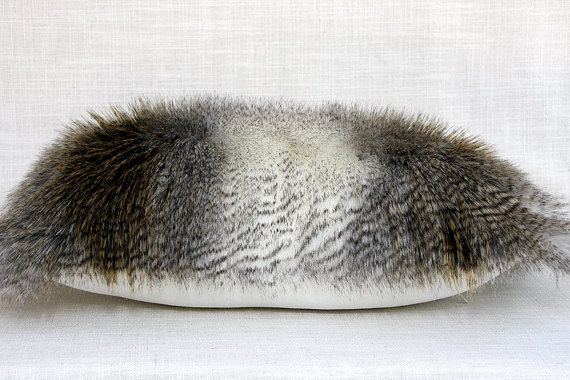 Decorative Pillow Case White Grey Ochre faux Fur by svetastyle