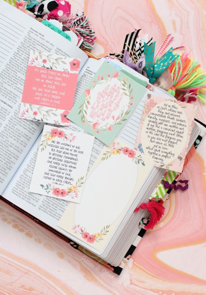 FREE printable floral scripture verse journaling cards from
