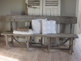 Oud houten eetkamer bankje van leonieswoonaccessoires