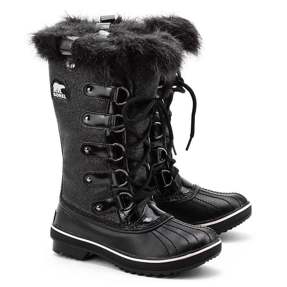 Sorel Tofino Glitter Czarne Tekstylne śniegowce Damskie 2029