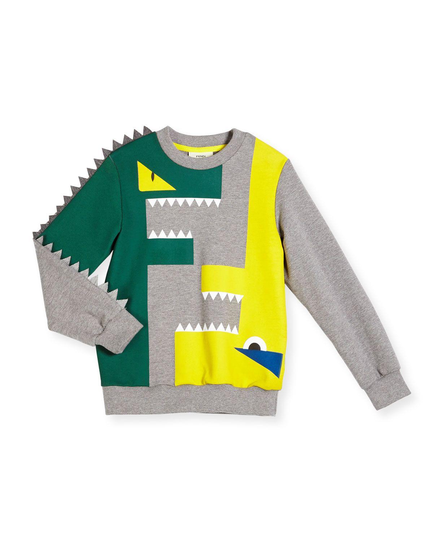Fendi Monster Logo Slub Pullover Sweatshirt, Gray, Size 2