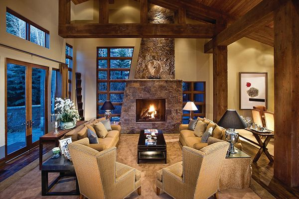 Picturesque mountain contemporary luxury villa in Aspen shed roof interior