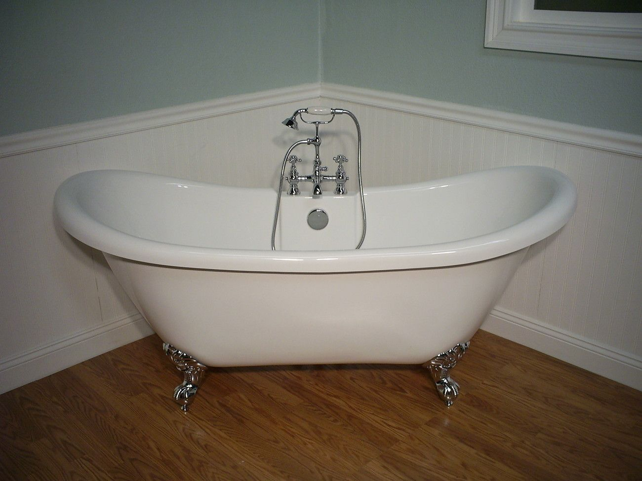 M992 DOUBLE SLIPPER CLAWFOOT BATHTUB & FAUCET & DRAIN SET ...