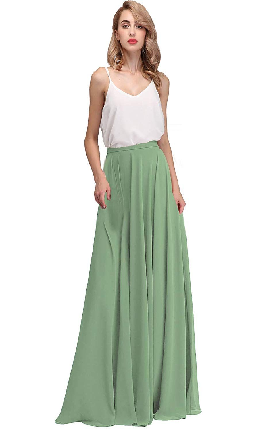 28055ea3a6 Honey Qiao Chiffon Maxi Skirt Bridesmaid Dresses Long High Waist  Floor/Ankle Length Woman Dresses with Belt at Amazon Women's Clothing store: