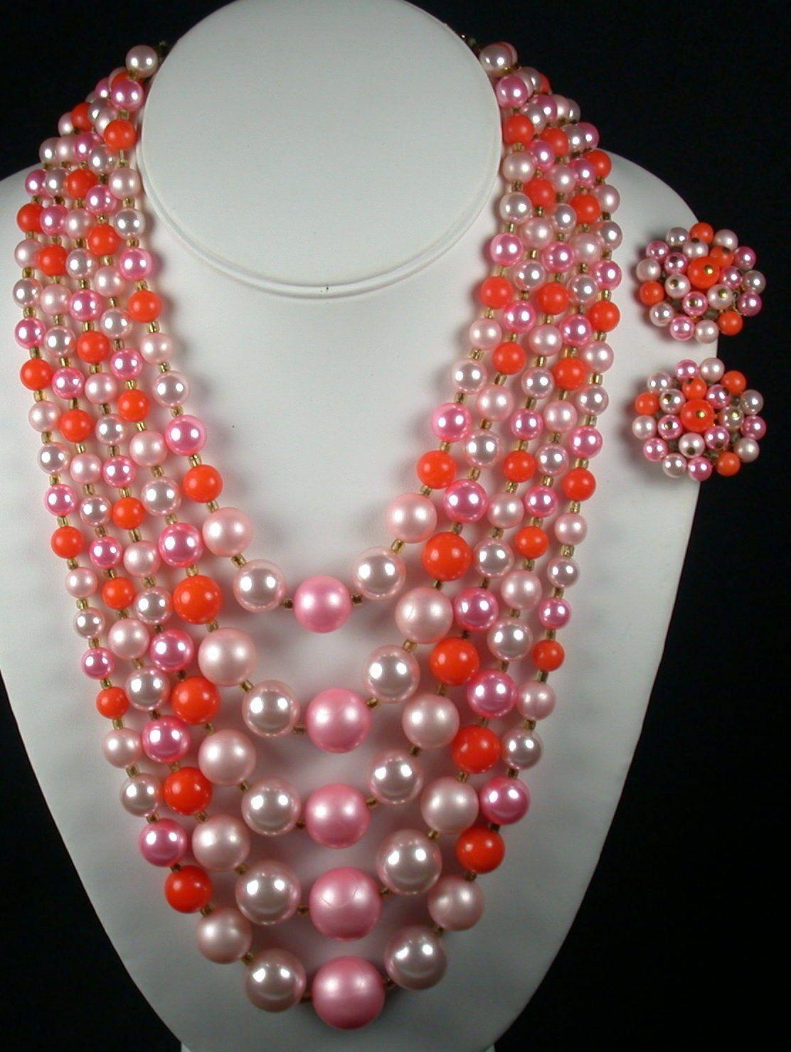 c94d343a850c69 Vintage 5 Strand Pink & Orange Beaded Necklace & Earrings Set - Japan | eBay