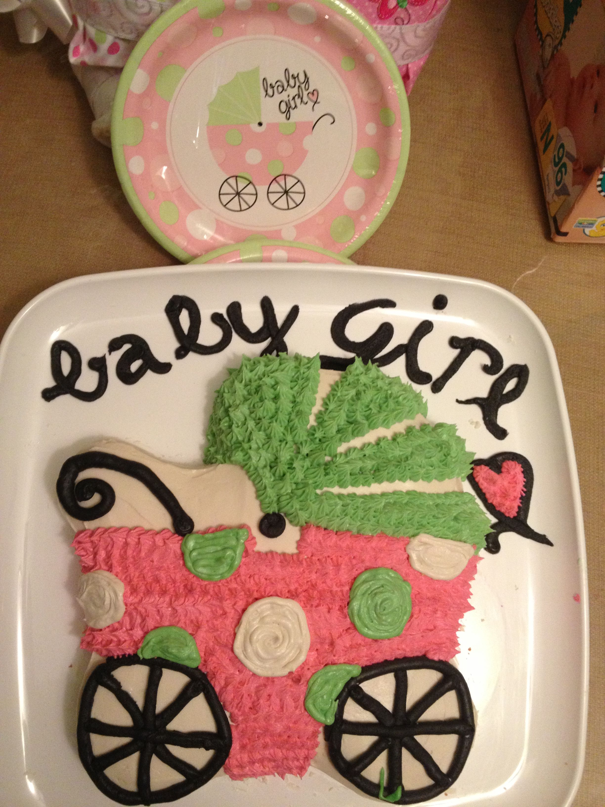 Baby Shower Baby Buggy Carriage Stroller Cake. Made This To Match All  Decorations From The