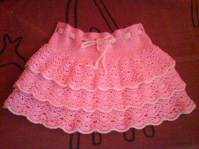 розовая юбка для девочки крючком