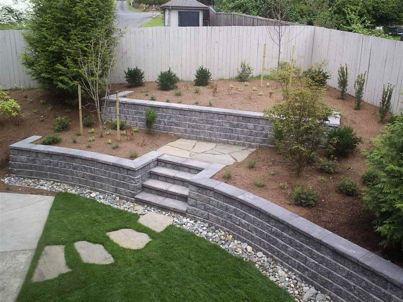 Walls cinder block retaining wall with green grass cinder for Block wall landscape design