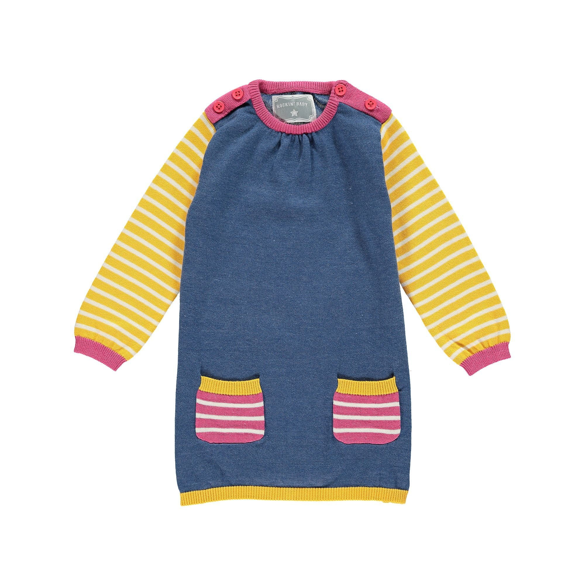 Rockin Baby Girls Navy Mix Knitted Dress Girl s