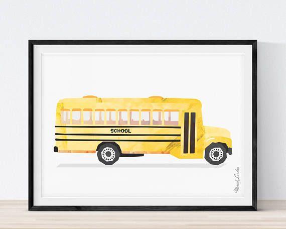 Vehicle Art Print Bus Print School Bus print Cars Wall Art | My Kids ...
