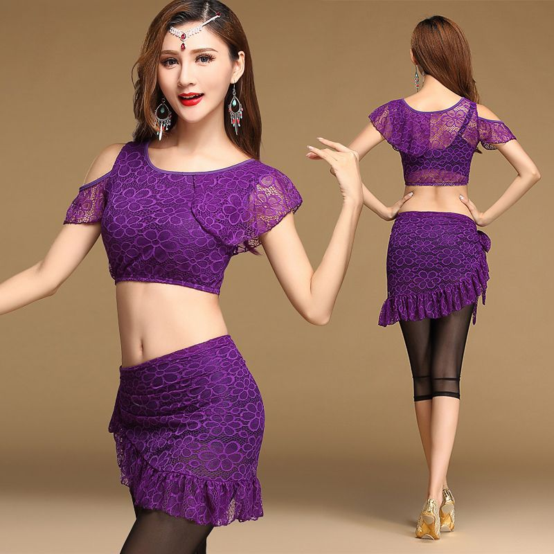 V-neck Short Sleeve Blouse Top for dance Belly Dance Costumes Practice Dancewear
