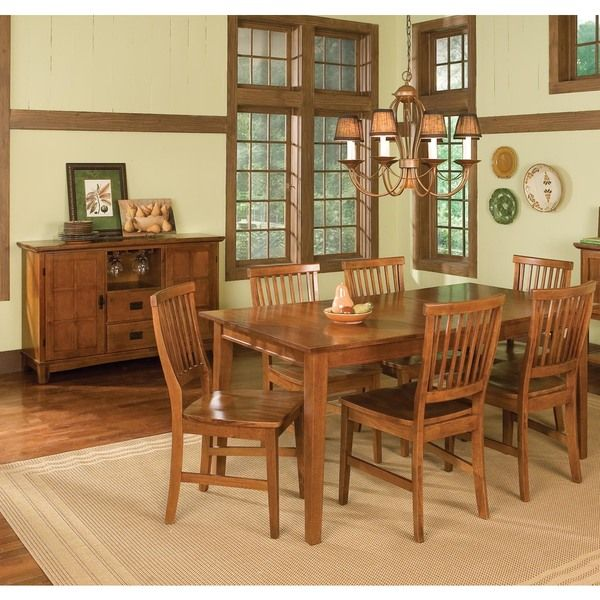 arts and crafts 7 piece rectangular dining set by home styles by home styles  kitchen tablesdining     arts and crafts 7 piece rectangular dining set by home styles by      rh   pinterest com