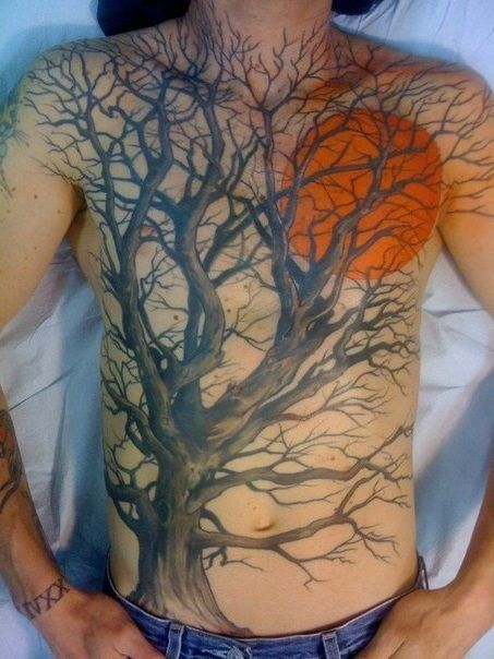 Tree And Red Moon Tattoo