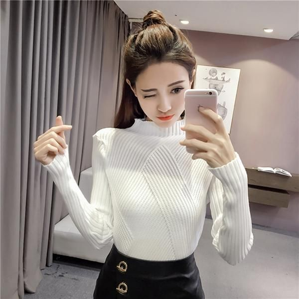 AOSSVIAO Half Turtleneck Women Sweaters And Pullovers Female 2017 Autumn Winter Kniited Sweater Women Tricot Jumper Pull Femme